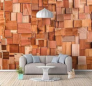 XHXI Vintage Tridimensional Bloque de madera Geometría de ladrillo Impresión de arte en HD Papel tap Pared Pintado Papel tapiz 3D Decoración dormitorio Fotomural sala sofá pared mural-400cm×280cm