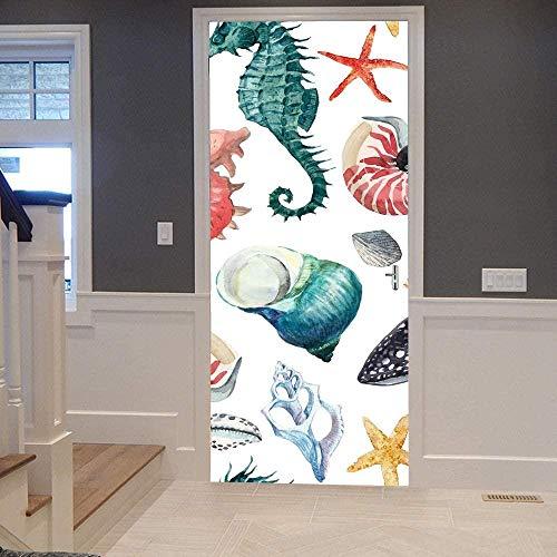 KEXIU 3D Caballito de mar concha de color PVC fotografía adhesivo vinilo puerta pegatina cocina baño decoración mural 77x200cm