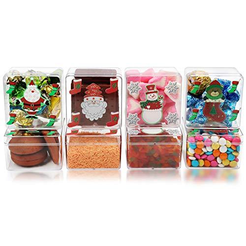 BELLE VOUS Caja (Pack de 8) 7,5 x 7,5 x 5 cm - Caja Acrílico con Tapa para Golosinas - Caja Navidad 4 Diseños Pequeños para Regalos, Dulces, Galletas - Caja de Chuches Regalo