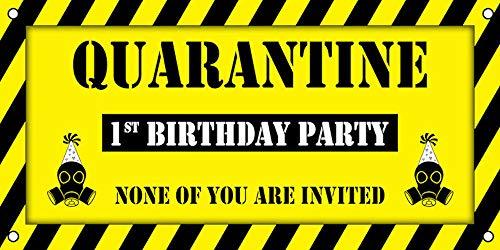 Monuva Quarantine 1st Birthday Party Vinyl Banner Sign (2ft x 4ft)