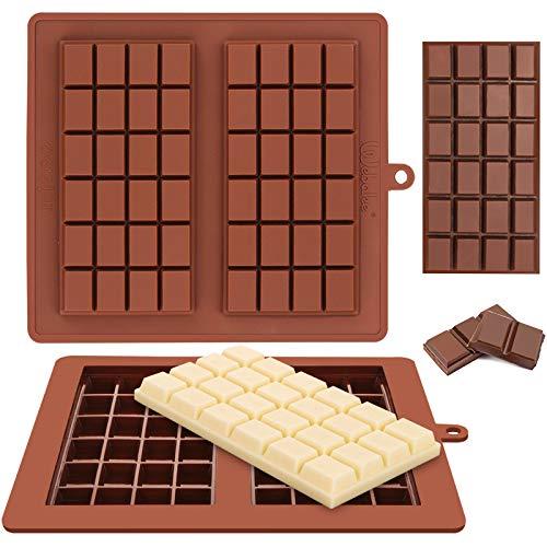Webake Moldes de silicona para barra de chocolate, paquete de 2 moldes de caramelo Break-Apart para barra de energía, moldes de caramelo de fácil liberación