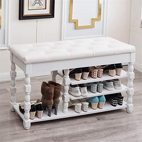 Cambio de zapatos de almacenamiento oculto Entrada 3-nivel Organizador de zapatos Estante de almacenamiento de madera con cojín para botas Banco de zapatos de taburete moderno adecuado para usar zapat