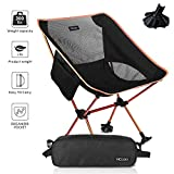 HCcolo Lightweight Compact Folding Camping Backpack Chairs, Portable, Breathable Comfortable, Perfect for Outdoor,Camp,Hiking,Picnic - Upgrade Non-Slip Feet (Orange)