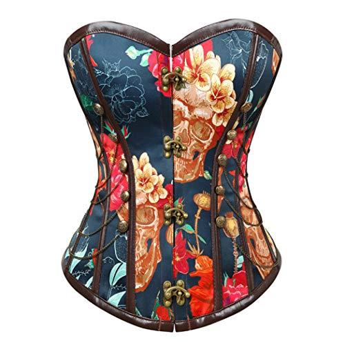 Mujeres Steampunk Bustier patrón de Flor corsé Cadenas de Estilo Vintage Decorado Floral Cintura Talladora Tops