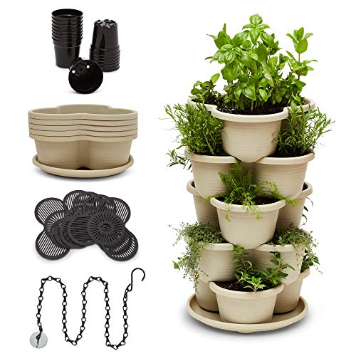 Stackable Planter Vertical Garden for Vegetables, Flowers, Herbs, Succulents, Microgreens,...