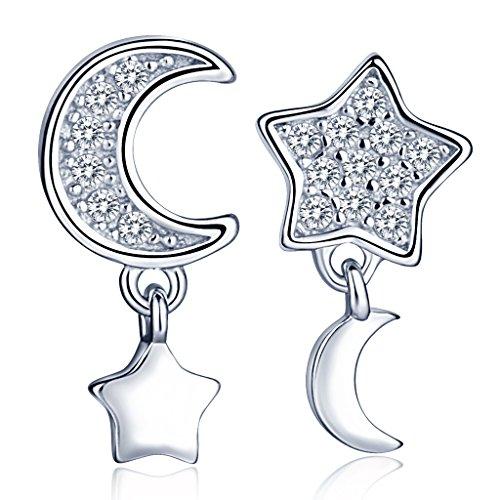 Infinite U, eleganti orecchini a forma di stella e luna, in argento Sterling 925con zirconie cubiche. Orecchini a lobo, pendenti, per donne e ragazze. Colore: argento