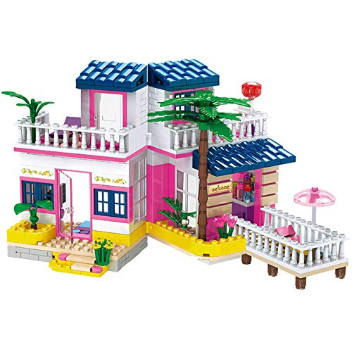 BRICK STORY Girls House Building Sets Seaside Villa Building Blocks Toys Friends Beach Hut Building Kit for Kids Aged 6 and up (360 PCS)