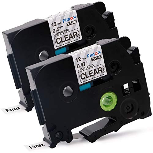 """Fimax Compatible Label Tape Replacement for Brother TZe-131 TZ131 TZe131, Black on Clear, 0.47"""" 26.2ft (12mm/8m) 2PK"""