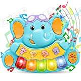 STEAM Life Educational Baby Musical Toys - Light Up Baby Toys Piano Keyboard - Toddler Piano with 5 Numbered Keys - Plays Songs and Music Memory Game Smart Baby Elephant Piano