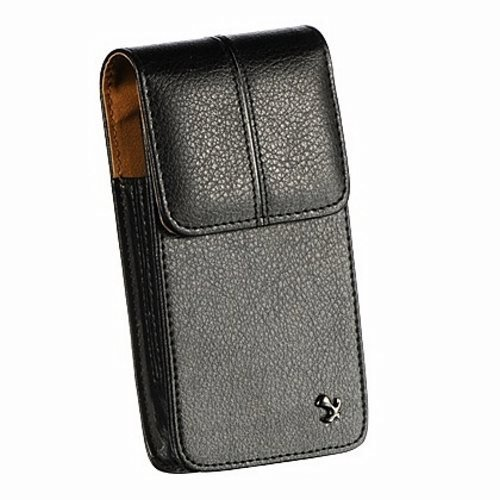 Luxmo High Quality Leather Vertical Pouch Protective Carrying Cell Phone Case with Swiveling Belt Clip for Apple iPhone 5 5C 5S - All Carriers (Includes Top Quality Things Mini Stylus Pen) - Black