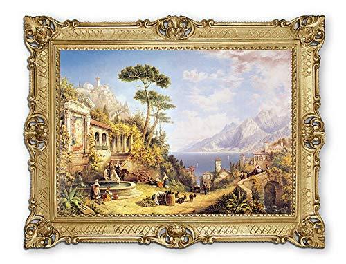 Lnxp Prachtig schilderij 90×70 cm kunstenaars; J. Bell ´´ Paesaggio – landschap ´´ afbeelding foto's barok frame antiek…