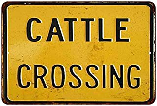 Cattle Crossing Sign Vintage Retro Decor Cow Ranch Signs Decorations Farm Animal Gift 8x12 Metal 108120067031
