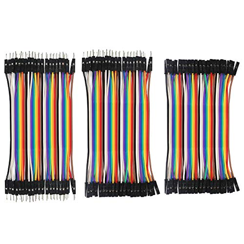 Breadboard Jumper Dupont Wire,ALMOCN 120PCS 10cm Multicolored Dupont Wire 40pin Male to Female, 40pin Male to Male, 40pin Female to Female Breadboard Jumper Wires for Arduino