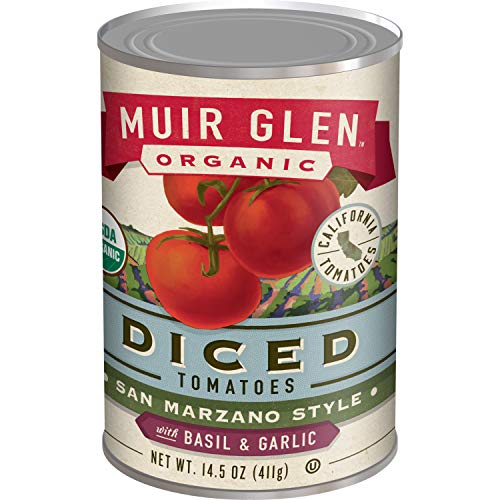 Muir Glen Organic Diced Tomatoes San Marzano Style With Basil and Garlic 12 Cans, 14.5 oz