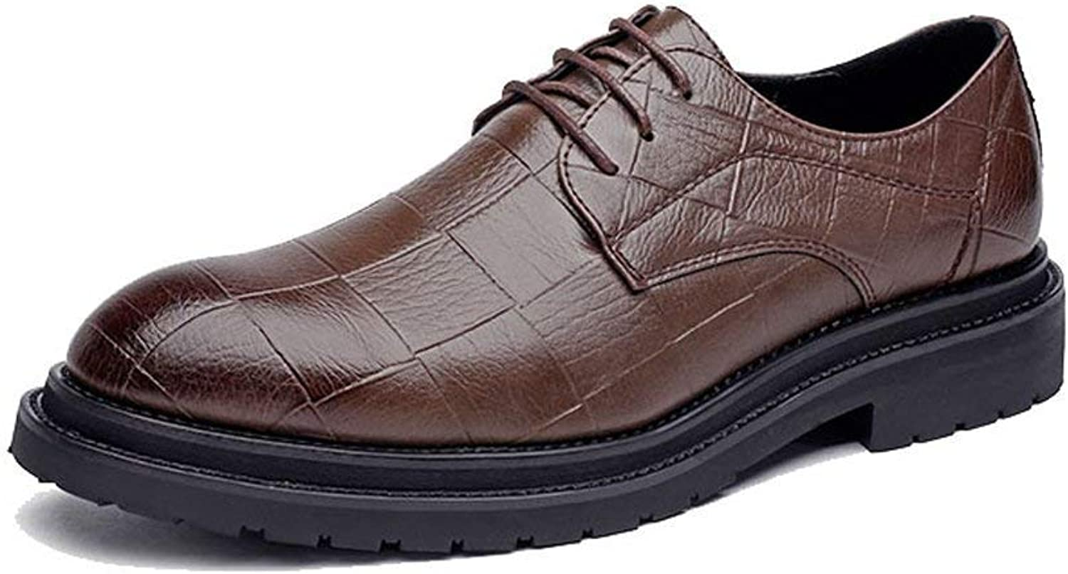 FuweiEncore 2018 Men's Business PU Leather shoes Classic Lace up Loafers Square Texture Thick Outsole Oxfords (color  Black, Size  39 EU) (color   Brown, Size   44 EU)