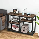Console Tables for Hallway, Rustic Sofa Table with Shelves Storage, Wood and Metal Entryway Table for Living Room, Vintage Brown 120 cm
