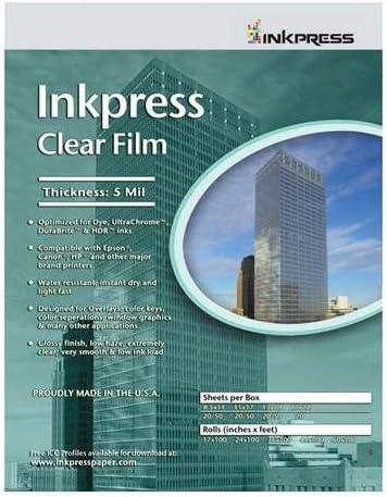 Inkpress Clear Film 5 Tulsa Mall Award-winning store mil. 20 Polyester 8.5x11