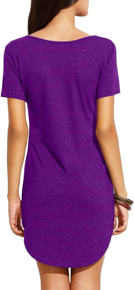 Haola Women's Summer Short Sleeve Slim Fit Shirts Mini Dresses Floral Print Juniors Dress Top