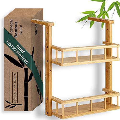 Green'n'Moderno, scaffale da appendere per frigorifero, portaspezie da appendere, in legno di bambù, scaffale da cucina compatto per studenti, robusto e veloce da montare sull'armadio della cucina