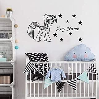Lovely Pony Star Personalized Any Name Vinyl Wall Sticker Baby Nursery Room Decorative Sticker DIY Vinyl Art Decal Mural W-96