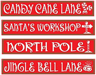 Beistle 4-Pack North Pole Street Sign Cutouts, 4-Inch by 24-Inch