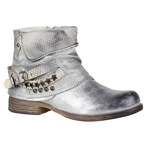 Damen Stiefeletten Biker Boots Nieten Schnallen Leder-Optik Schuhe 148774 Silber Glitzer 38 Flandell