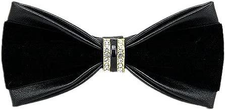 leather bow tie black