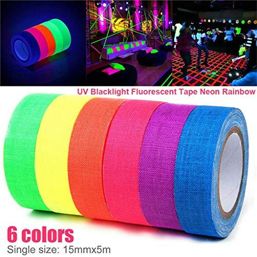 Styleest fluoreszierendes Klebeband bunt 6 Rollen UV Schwarzlicht Fluoreszierendes Tape Neon Regenbogen Gaffer Spike Klebeband für D I Y