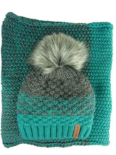 AMALTEA TEA 2 teiliges Damen Winterset Schal Mütze I Bommelmütze Baenie & Loop (grün blau petrol türkis grau) Veilo 36.64 - ohne Handschuhe - mit großem Bommel - Bommelmütze