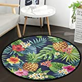 Vdsrup Tropical Sunflower Pineapple Doormat Palm Tree Leaves Floor Mats Round Washable Non-Slip Entryway Area Rug for Living Room Kitchen Bedroom Home Decor 36'