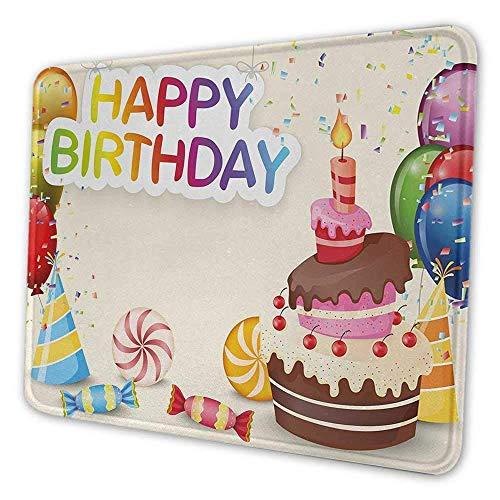 Geburtstag diy Mauspad niedliche Zusammensetzung von Süßigkeiten leckeren Kuchen Konfetti Party Hüte Luftballons Glück Mauspad für Frauen ziemlich mehrfarbig