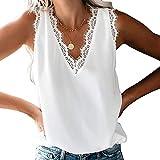 Mujer Camisa sin Mangas con Cuello en V y Encaje con Cuello en Informal sin Mangas Camisa Blusa Camisole Blouse Shirt Cami Tank Top de Verano-Blanco-S