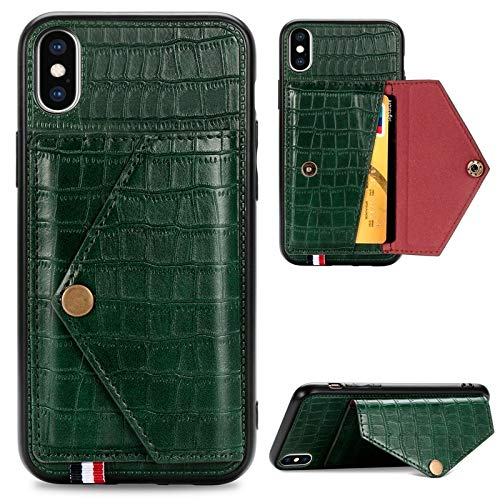 Kunyun Textura de cocodrilo Cartera de Cuero PU con Soporte de Tarjeta Flip Tapa Protectora a Prueba de choques para iPhone X/XS/XR/XS MAX. (Color : Green, Talla : iPhone X/XS)