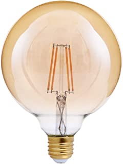 Triglow T98833 LED 4 Watt (40W Equivalent) Amber Glass G40 Globe Bulb, DIMMABLE 2200K Color, 400 Lumens, E26 Medium Base LED Light Bulb