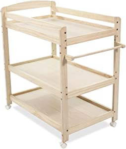Ali  Three Layers Pine Wood Baby Changing Table  Removable Newborn Care Station  Shower Stand  Assembly Massage Table  Height-Adjustable  Load