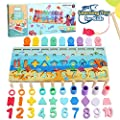 Sitodier Wooden Number and Shape Sorting Puzzle Educational Montessori Toys for Toddlers- Matching&Counting and Fishing Game for Age 2 3 4 5 Years Old Kids,Math Stacking Preschoolers Learning Toy