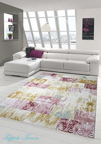 Designer Teppich Moderner Teppich Wollteppich Meliert Wohnzimmerteppich Wollteppich Karo Design Bunt...