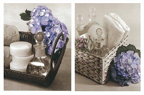 Cuadros de baño Florales en Blanco y Negro con hortensias violetas. Set de 2 Unidades de 19 cm x 25 cm x 6 mm unid. Adhesivo FÁCIL COLGADO. Adorno Decorativo. Decoración Pared hogar