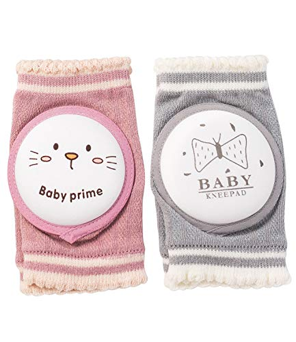 YoungVill Baby Crawling Knee Pads (2 Pairs)- Leg Protector for Toddler Boys and Girls - Pink and Grey