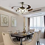 Qinmo Luces de ventilador de techo, lámpara de LED, de 52 pulgadas de luz invisible Ventilador, Sala Comedor Dormitorio 120W LED de iluminación, moderno y sencillo for el dormitorio, la sala de estar