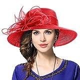 Mujer Derby Church Baptism Dress Tea Party Sombreros de Boda (Rojo)
