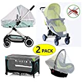 2 Pack Baby Mosquito Net for Strollers, Pack'n'Plays, Car Seat & Bassinets, Playpens & Cribs (2 Pack) (L)