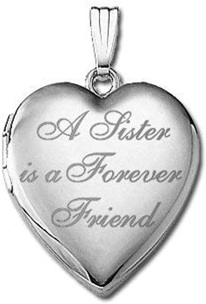 PicturesOnGold.com 14k White Gold a Sister is a Forever Friend Hearts Locket 3/4 Inch X 3/4 Inch in Solid 14K White Gold