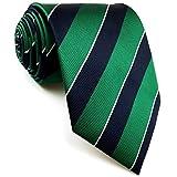 Shlax&Wing - Corbata de seda para hombre, diseño de rayas, color azul y verde - Verde - Extra Largo Corbata 160 cm x 9 cm