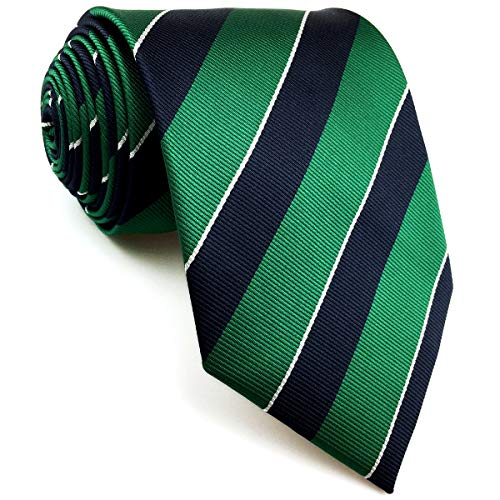 S&W SHLAX&WING Herren Ties Krawatte Verde Azul Rayas Classic 147cm