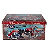 Baúl Plegable Decorativo de Madera Vintage 'Moto Ruta 66'. Cajas Multiusos. Taburetes. Muebles Auxiliares. Regalos Originales. Decoración Hogar. 42 x 76 x 40 cm.