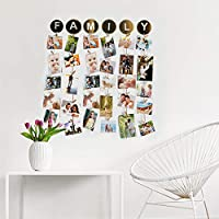 Material: Wood, Color: Brown, Finish: Polished Package Contents: 1 x Family Hanging Photo Display Picture Frame Collage Picture Organizer with Clips Item Size: 65 cm x 70 cm x 1.2 cm Wonderful decoration - great way to organize and display pictures, ...
