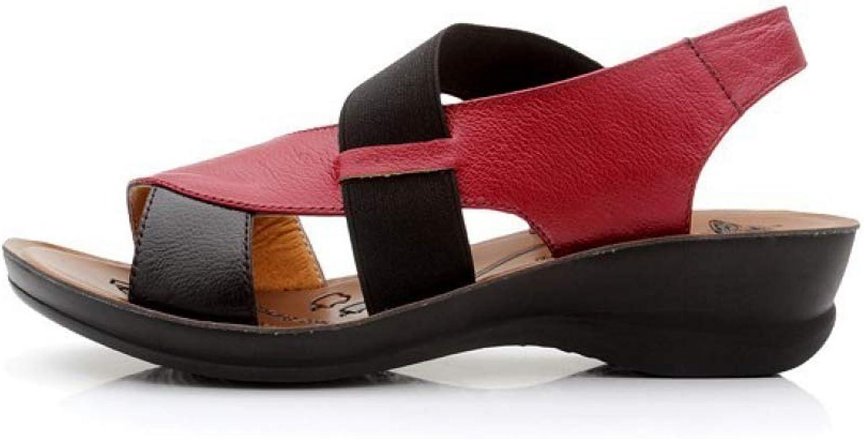 JOYBI Women Casual Wedges Sandals Faux Leather Comfort Slip On Summer Anti-Skid Open Toe Gladiator Sandal