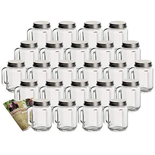 gouveo 24er Set Mini Trinkgläser 30 ml incl. Drehverschluss Silber, Henkelgläser, Gläser mit Griff, Schnapsgläser incl. Flaschendiscount-Rezeptbroschüre (24, 30 ml Klassik)