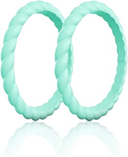 Womens Functional Silicone Ring&Rubber Wedding Bands for Workout and Sports Width 3mm